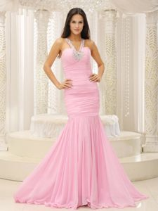 Beaded V-neck Ruches Mermaid Prom Court Dresses in Baby Pink 2014