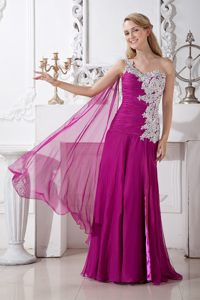 Appliqued and Ruched One Shoulder Prom Cocktail Dress in Fuchsia