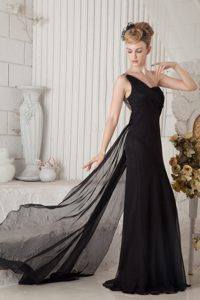 Ruched Black One Shoulder Prom Cocktail Dress with Watteau Train