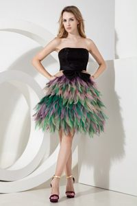 Black Knee Length Prom Cocktail Dress with Bow and Colorful Ruffles