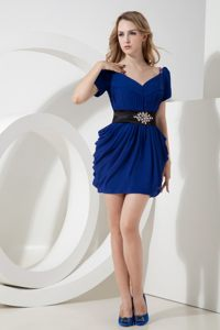 Royal Blue V-neck Prom Bridesmaid Dress with Short Sleeves 2014
