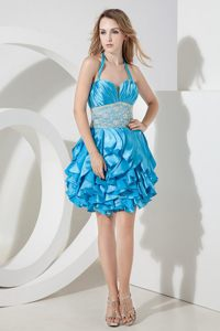 Baby Blue Halter Prom Bridesmaid Dress with Ruches and Ruffles