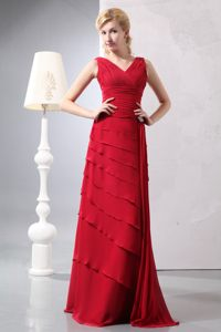 Red V-neck Floor Length Chiffon Prom Bridesmaid Dress with Ruches