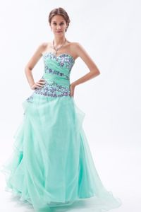 Appliqued and Ruched Organza Prom Bridesmaid Dress in Apple Green