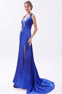 Appliques Blue High Slit Criss Cross Watteau Train Prom Dresses