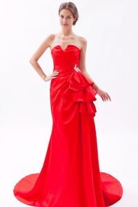 Brooch Accent Red Brush Prom Bridesmaid Dress with Slot Neckline