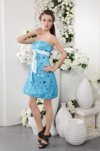 Sash Accent Blue Mini Prom Bridesmaid Dress with Paillette 2014