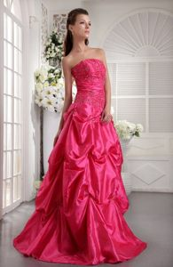 Hot Pink A-line Prom Bridesmaid Dress with Beading and Pick ups