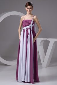 Purple and White Empire Ruched Beaded Prom Maxi Dress with Straps