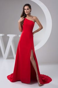 Red One Shoulder Prom Maxi Dress with High Slit and Brush Train