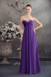 Beaded and Ruched Sweetheart Purple Long Prom Party Dress 2014