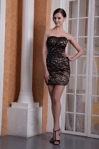 Beaded Mini Length Black Prom formal Dresses of Leopard Print