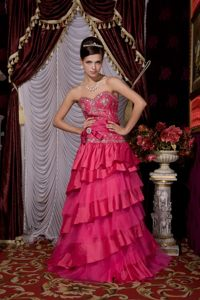 Beading and Ruffled Layers Accent Prom formal Dress in Hot Pink