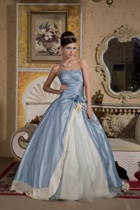 Beautiful Blue and Yellow Ball Gown Flowery Prom formal Dresses