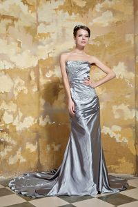 Silver Green Court Train Prom Pageant Dress with Beading on Sale