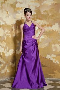 Eggplant Purple Halter A-line Prom Pageant Dresses with Ruches