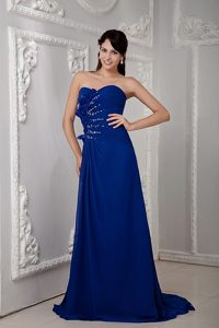 Flowers and Beading Accent Prom Homecoming Dress in Royal Blue