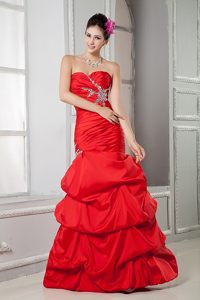 Beading Ruches Red Prom Homecoming Dress with Pick ups for Cheap