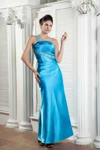 Teal Ankle Length Beaded Ruched Prom Homecoming Dress One Shoulder