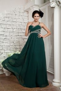 Beaded and Ruched Dark Green Prom Celebrity Dresses with Straps