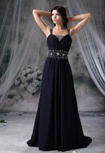 Navy Blue Straps Beading Chiffon Brush Prom Graduation Dresses