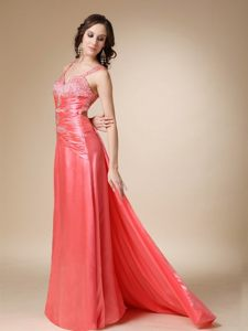 Straps Beading Ruches Watteau Train Prom Holiday Dress in Watermelon