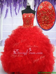 Luxurious Ball Gowns Ball Gown Prom Dress Red Strapless Organza Sleeveless Floor Length Lace Up