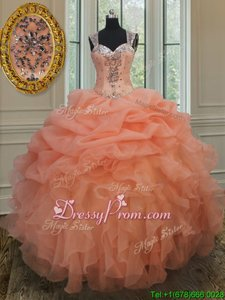 Orange Organza Zipper Vestidos de Quinceanera Sleeveless Floor Length Beading and Ruffles and Pick Ups