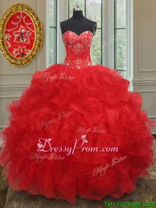 Floor Length Red 15th Birthday Dress Organza Sleeveless Spring and Summer and Fall and Winter Beading and Ruffles