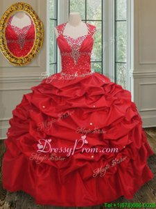 Super Straps Cap Sleeves Quinceanera Gowns Floor Length Beading and Pick Ups Red Taffeta