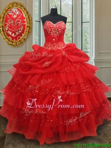 Great Red Quinceanera Gown Military Ball and Sweet 16 and Quinceanera and For withBeading and Ruffled Layers and Sequins and Pick Ups Sweetheart Sleeveless Lace Up