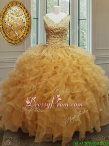 Comfortable Floor Length Gold Quinceanera Gown V-neck Sleeveless Zipper