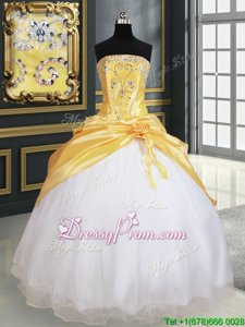 Customized Sleeveless Lace Up Floor Length Beading and Pick Ups and Hand Made Flower Quince Ball Gowns