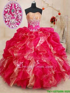 Beauteous Floor Length Red Quinceanera Dress Organza Sleeveless Spring and Summer and Fall and Winter Beading and Ruffles