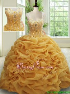 Charming Gold Sleeveless With Train Beading and Pick Ups Zipper Quinceanera Dress