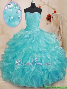 Dazzling Aqua Blue Sweetheart Neckline Beading and Ruffles Quinceanera Gowns Sleeveless Lace Up