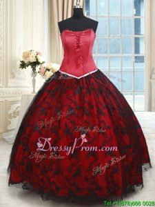 Cheap Black and Red Strapless Lace Up Lace 15 Quinceanera Dress Sleeveless