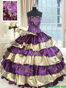 Suitable Sleeveless Floor Length Beading and Ruffled Layers Lace Up Quinceanera Gowns with Purple and Gold