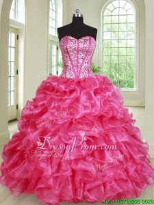 Admirable Hot Pink Vestidos de Quinceanera Military Ball and Sweet 16 and Quinceanera and For withBeading and Ruffles Sweetheart Sleeveless Lace Up