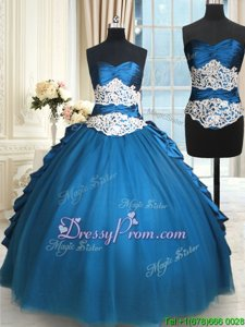 Spectacular Teal Sleeveless Floor Length Beading and Lace Lace Up Quinceanera Gown