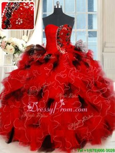 Sleeveless Lace Up Floor Length Beading and Ruffles and Sequins Sweet 16 Dresses