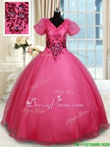 Suitable Coral Red Organza Lace Up 15 Quinceanera Dress Short Sleeves Floor Length Beading