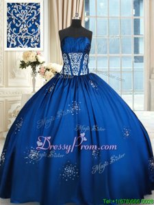 Wonderful Royal Blue Sweetheart Lace Up Beading Vestidos de Quinceanera Sleeveless