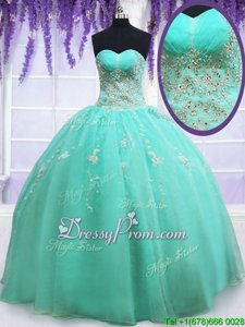 Fabulous Apple Green Sleeveless Organza Zipper Sweet 16 Dress forMilitary Ball and Sweet 16 and Quinceanera