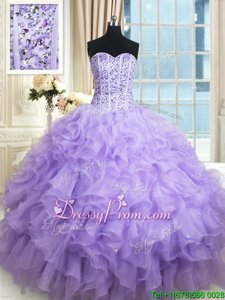 Designer Lavender Lace Up Sweetheart Beading and Ruffles Sweet 16 Quinceanera Dress Organza Sleeveless