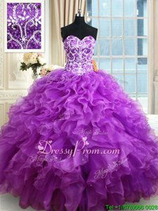 Glittering Eggplant Purple Organza Lace Up Sweetheart Sleeveless Floor Length Quinceanera Dresses Beading and Ruffles
