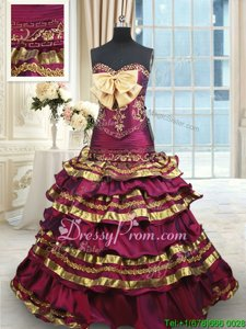 Glamorous Burgundy and Gold Ball Gowns Taffeta Sweetheart Sleeveless Beading and Ruffled Layers and Bowknot With Train Lace Up Sweet 16 Dresses Brush Train