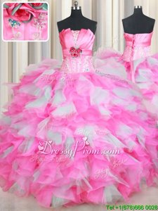 Delicate Pink And White Lace Up Quinceanera Dresses Beading and Ruffles and Hand Made Flower Sleeveless Floor Length