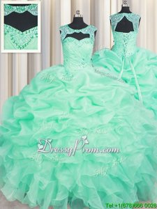 Attractive Sleeveless Floor Length Beading and Ruffles and Pick Ups Lace Up Quinceanera Gowns with Apple Green