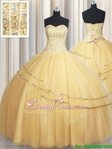 Dazzling Gold Sleeveless Beading and Sequins Floor Length Sweet 16 Quinceanera Dress